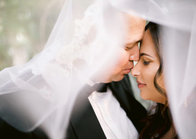 Wedding Couple Romatic Kiss with Veil